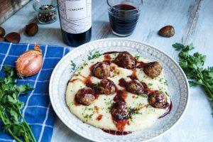 Cooking Italy Food Blog - Polpette di Castagne con Purea di sedano – Fleischbällchen mit Kastanie auf Sellerie Püree